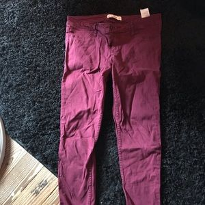 Red skinny Hollister jeans size 7